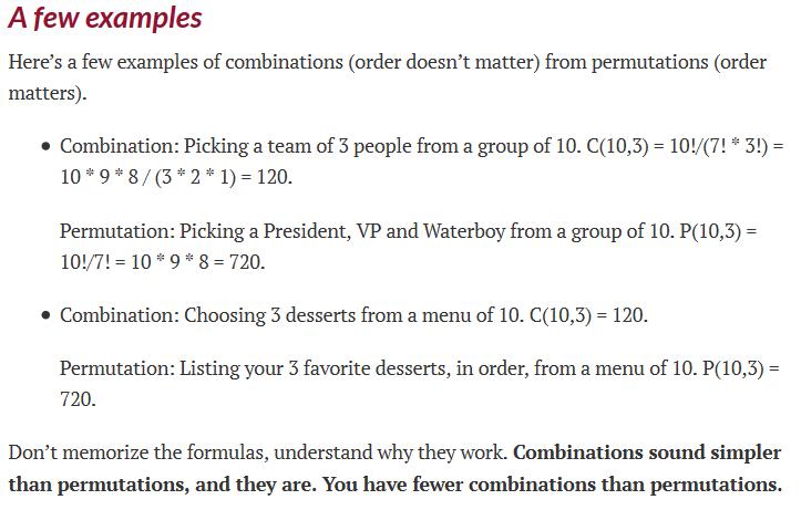 Maths Combination Vs Permutation Life Long Sharing