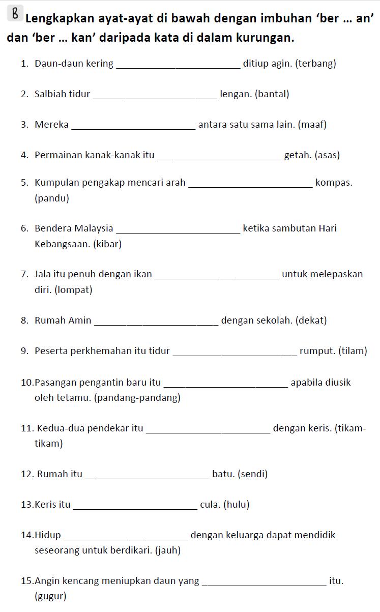 Bm Primary 6 Imbuhan Ber An And Ber Kan Life Long Sharing