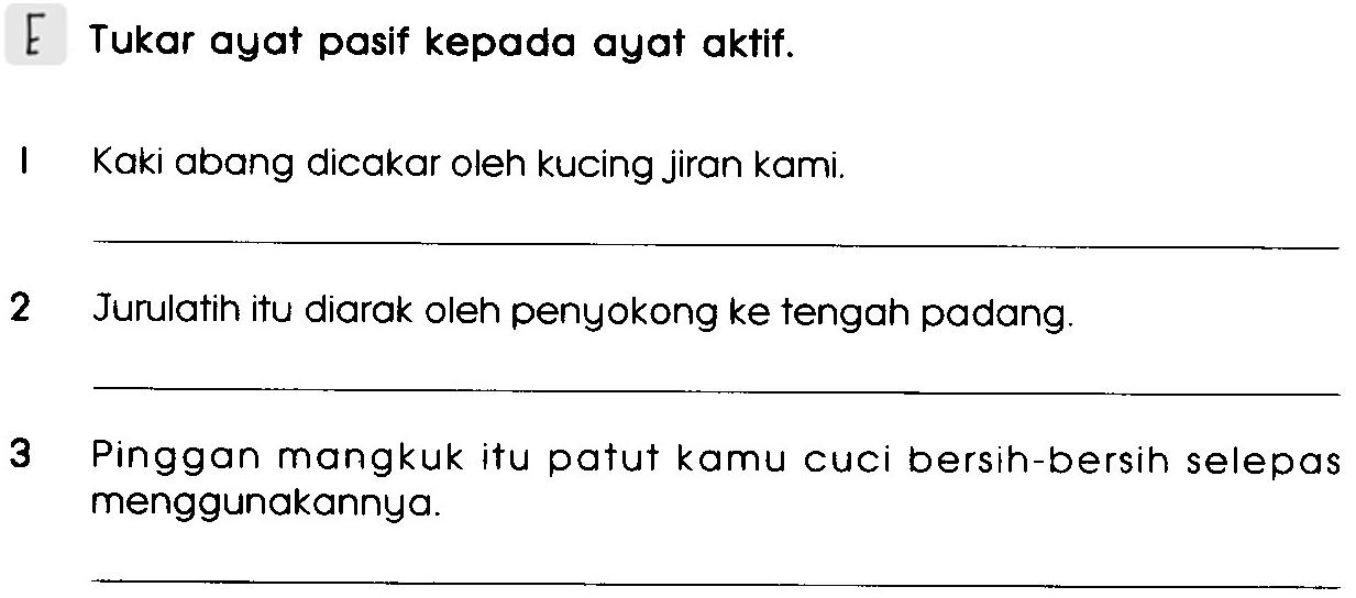Bm Primary 3 Ayat Aktif Ayat Pasif Exercise Life Long Sharing