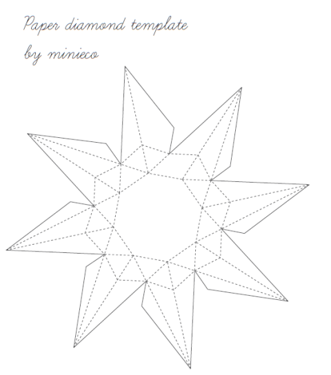 Here is the template for Paper Diamond. Click the image to download.