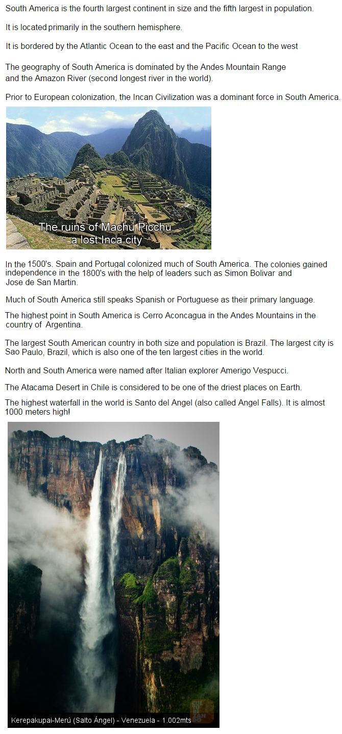 Geography South America Life Long Sharing